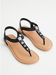 Black Faux Leather Studded T-Strap Sandal (WW), BLACK, alternate