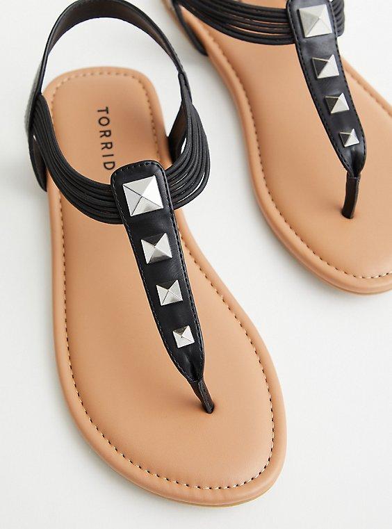 Black Faux Leather Studded T-Strap Sandal (WW), , hi-res