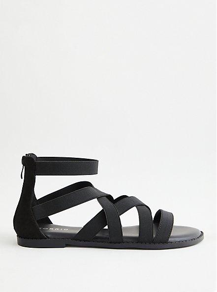 Black Elastic Strappy Gladiator Sandal, BLACK, alternate