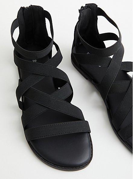 Black Elastic Strappy Gladiator Sandal, BLACK, hi-res