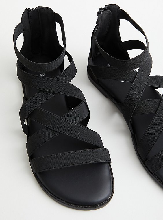 Black Elastic Strappy Gladiator Sandal, , hi-res