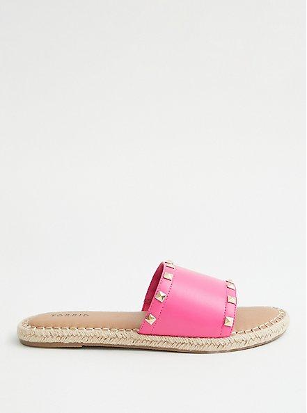 Hot Pink Faux Leather Studded Espadrille Slide, HOT PINK, alternate