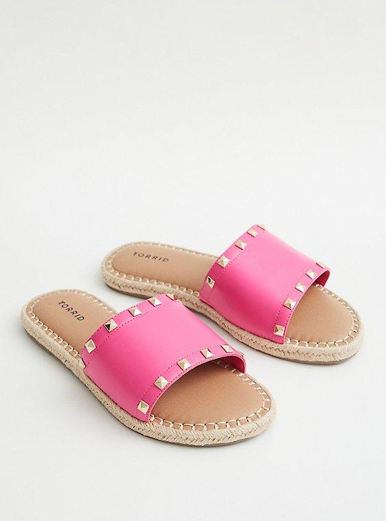 Hot Pink Faux Leather Studded Espadrille Slide, HOT PINK, hi-res