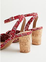 Red Bandana Print Tapered Heel, RED, alternate