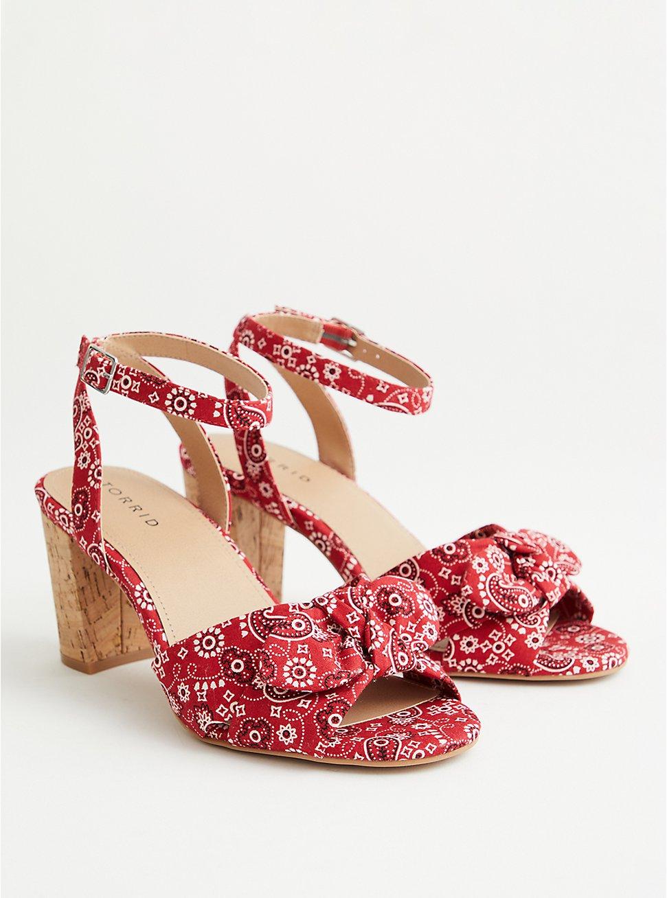 Red Bandana Print Tapered Heel, RED, hi-res