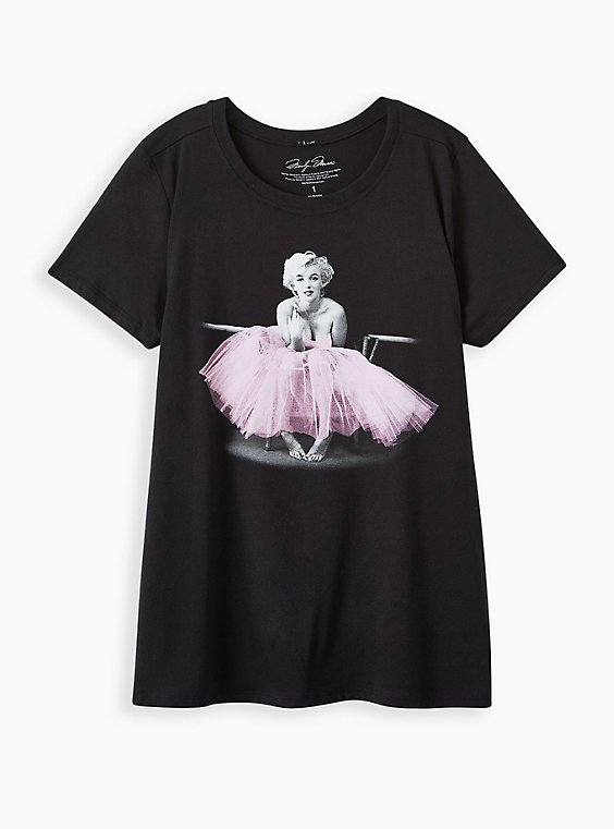 Slim Fit Crew Tee - Marilyn Monroe Black , DEEP BLACK, hi-res