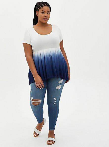 Hi-Lo Babydoll Top - Navy Dip-Dye Super Soft , OTHER PRINTS, alternate