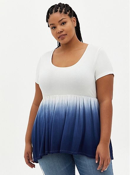 Hi-Lo Babydoll Top - Navy Dip-Dye Super Soft , OTHER PRINTS, hi-res