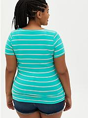 Rib Henley Tee - Green Stripe , OTHER PRINTS, alternate
