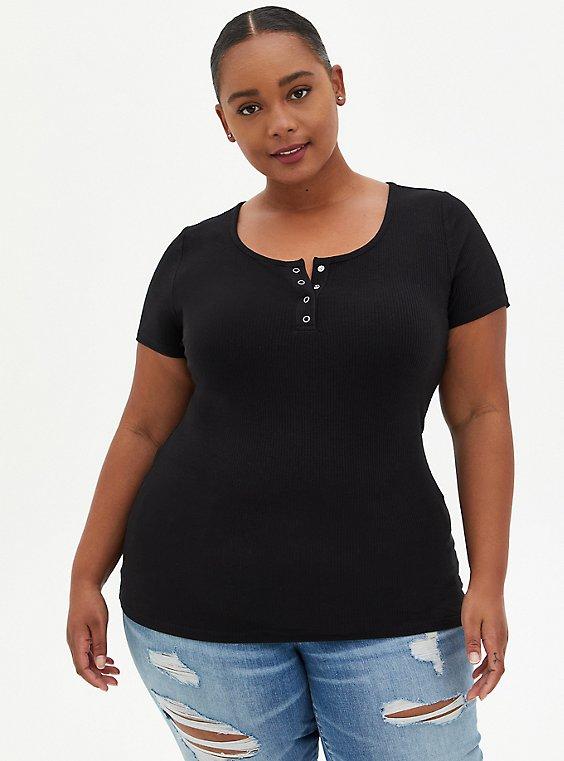 Plus Size Henley Tee - Rib Black, DEEP BLACK, hi-res