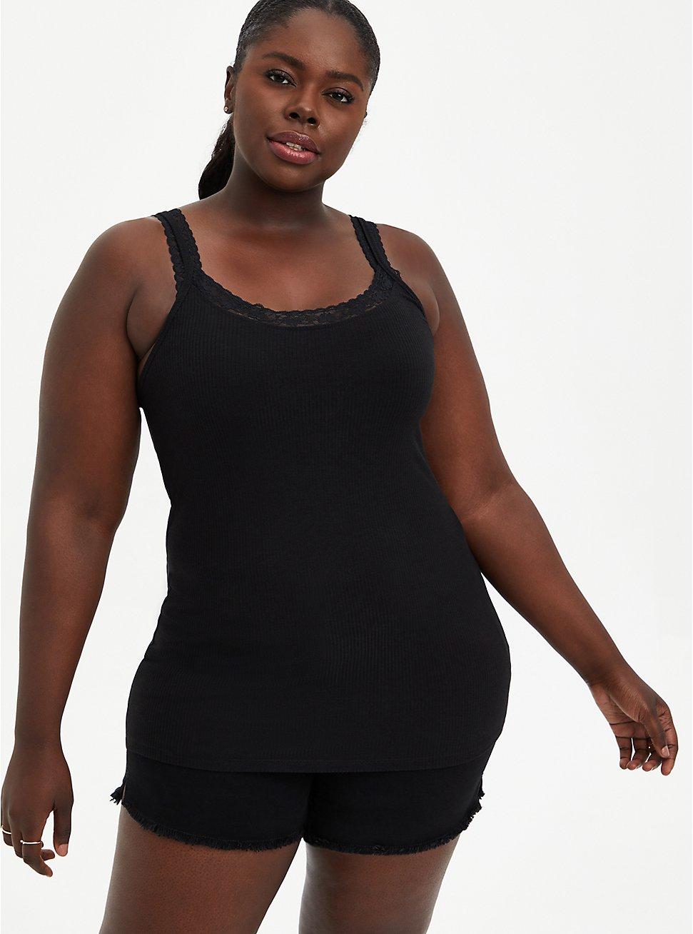 Plus Size Lace Strap Rib Tank - Black , DEEP BLACK, hi-res