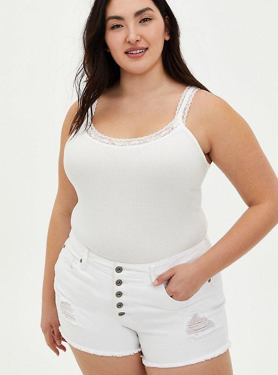 Lace Strap Rib Tank - White, BRIGHT WHITE, hi-res