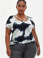 Navy Tie-Dye Super Soft Strappy Tee, OTHER PRINTS, hi-res
