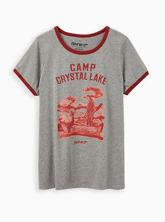 Classic Fit Ringer Tee – Friday The 13th Camp Crystal Lake Heather Grey, MEDIUM HEATHER GREY, hi-res