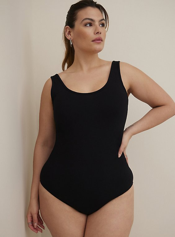 Plus Size Double Scoop Foxy Bodysuit, DEEP BLACK, hi-res