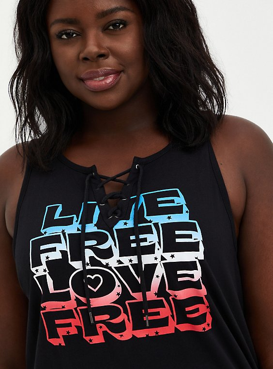 Lace Up Tank - Live Free Black , , hi-res