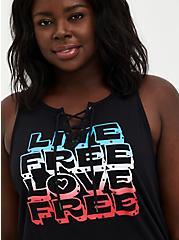 Lace Up Tank - Live Free Black , DEEP BLACK, hi-res