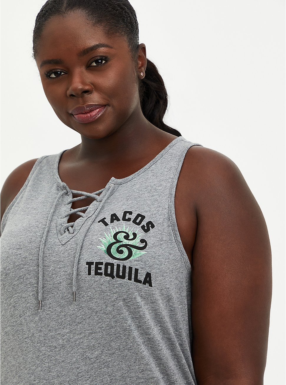 Lace Up Tank - Tacos & Tequila Grey, MEDIUM HEATHER GREY, hi-res