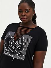 Classic Fit Crew Tee - Rose Black with Slashes, DEEP BLACK, hi-res
