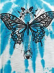 Off Shoulder Tee - Heritage Slub Blue Tie-Dye Butterfly, LIGHT BLUE, alternate