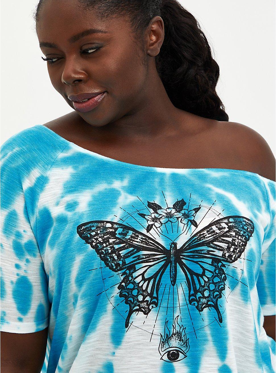 Off Shoulder Tee - Heritage Slub Blue Tie-Dye Butterfly, LIGHT BLUE, hi-res