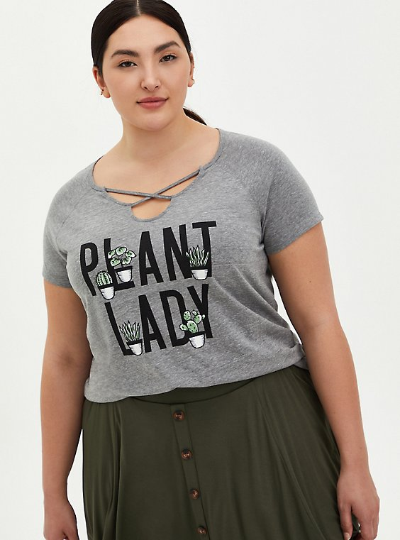 Classic Fit Crew Tee - Triblend Jersey Plant Lady Grey Strappy , MEDIUM HEATHER GREY, hi-res