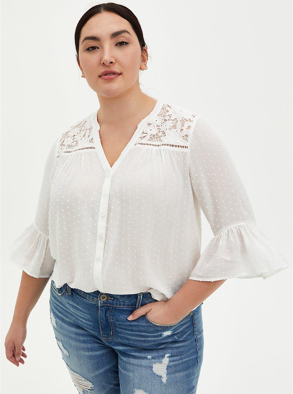 White Crochet Swiss Dot Blouse, CLOUD DANCER, hi-res