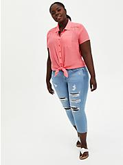 Button Front Blouse - Gauze Coral Pink, PINK, alternate