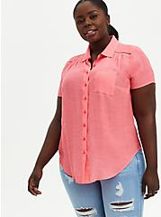 Button Front Blouse - Gauze Coral Pink, PINK, hi-res