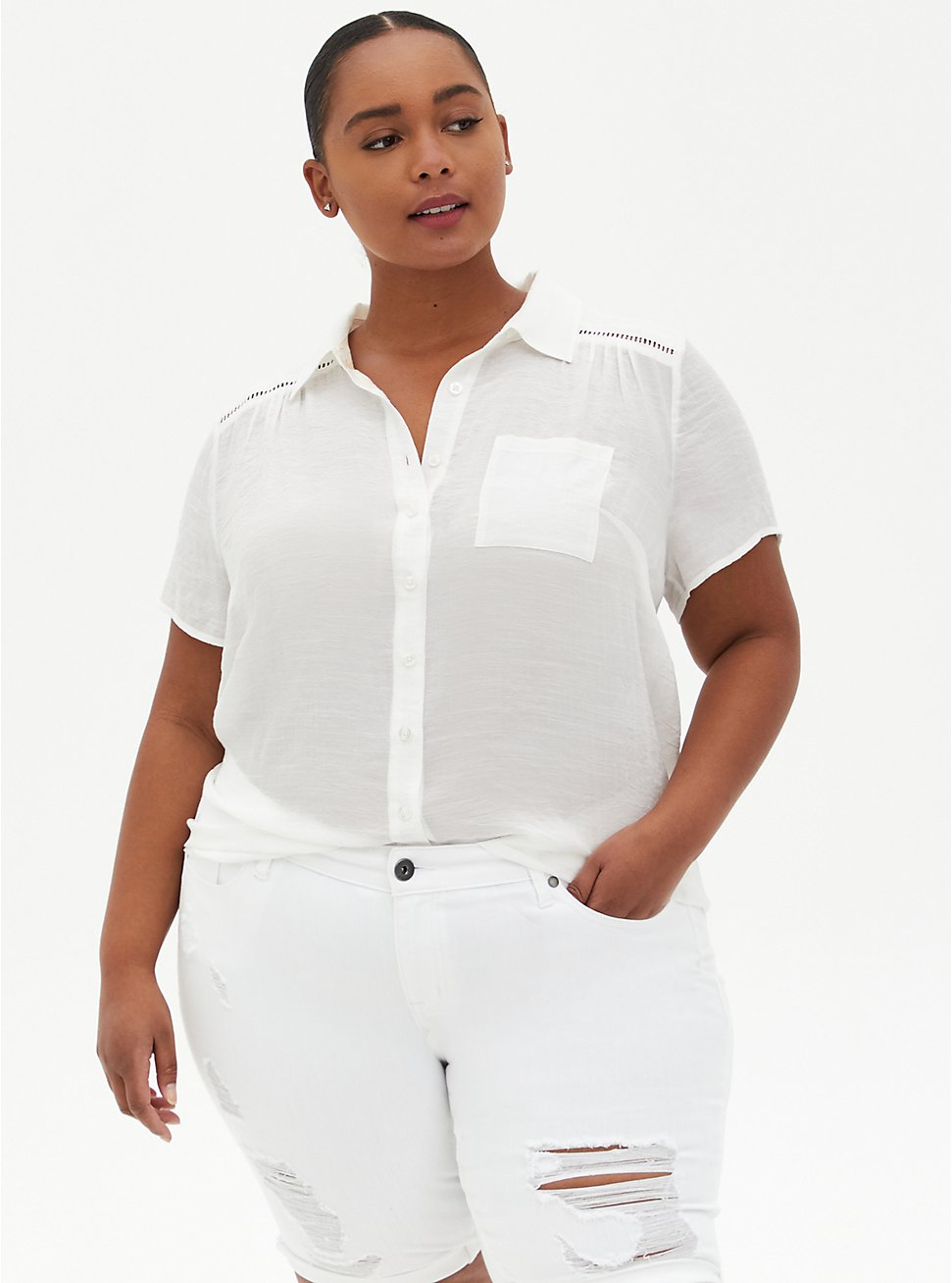 White Button Front Blouse, CLOUD DANCER, hi-res