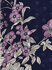 Cold Shoulder Top - Clip Dot Navy Floral, FLORAL - BLUE, alternate
