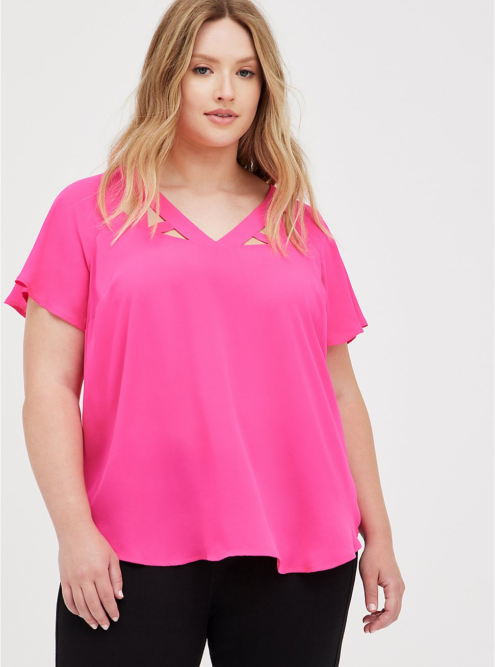 Pink Georgette Cage Front Blouse , PINK GLO, hi-res