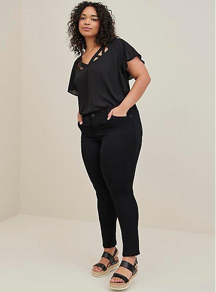 Plus Size Black Georgette Cage Front Blouse, DEEP BLACK, alternate