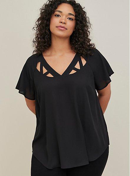 Plus Size Black Georgette Cage Front Blouse, DEEP BLACK, hi-res