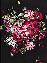 Black Floral Rayon Crepe Ruched Blouse , FLORAL - BLACK, alternate