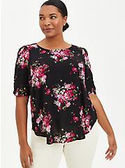 Black Floral Rayon Crepe Ruched Blouse , FLORAL - BLACK, hi-res