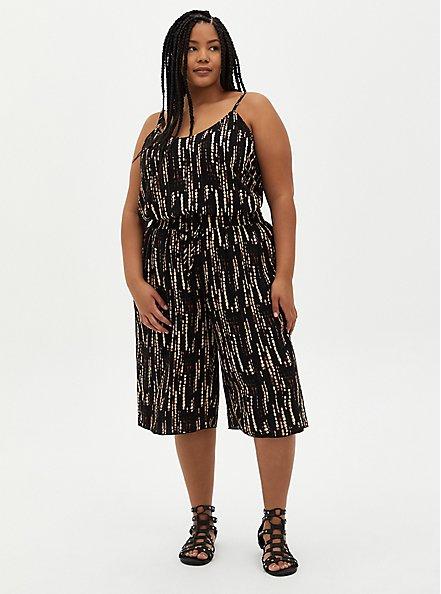 Sophie - Black Ikat Crinkle Gauze Cami, IKAT - BLACK, alternate