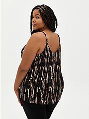 Plus Size Sophie - Black Ikat Crinkle Gauze Cami, IKAT - BLACK, alternate