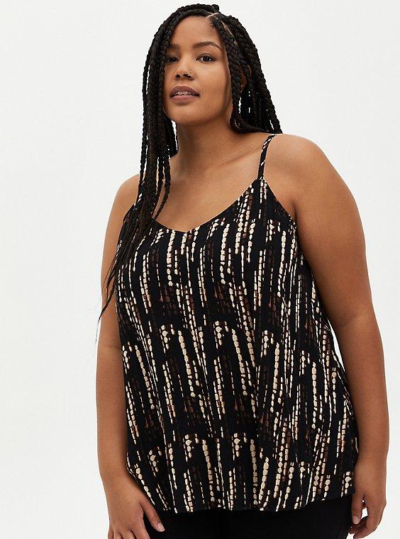 Plus Size Sophie - Black Ikat Crinkle Gauze Cami, , hi-res