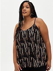 Plus Size Sophie - Black Ikat Crinkle Gauze Cami, IKAT - BLACK, hi-res
