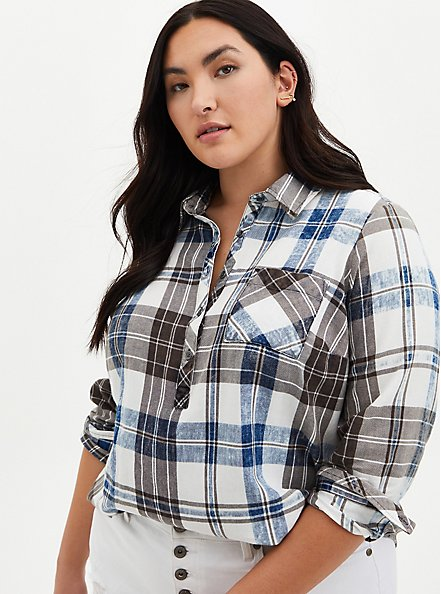 Blue Washed Plaid Button-Up Shirt , PLAID - BLUE, hi-res