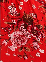 Red Floral Challis Ruffle Mini Skirt, FLORAL - RED, alternate