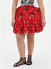 Red Floral Challis Ruffle Mini Skirt, FLORAL - RED, hi-res
