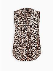 Leopard Crepe Tie Front Button Front Top, LEOPARD - TAN, hi-res