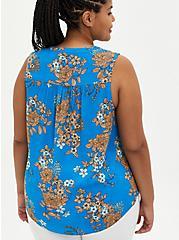 Blue Floral Crepe Tie Front Button Front Top, FLORAL - BLUE, alternate