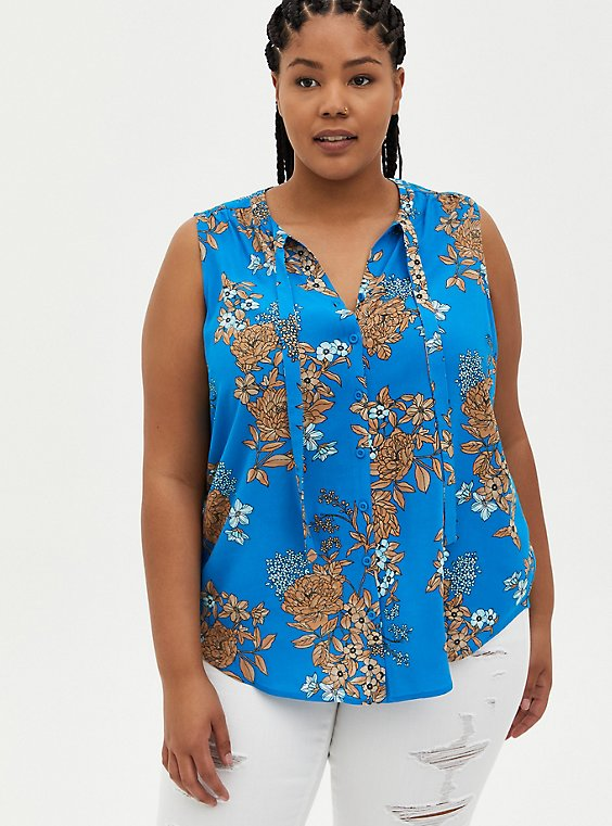 Blue Floral Crepe Tie Front Button Front Top, FLORAL - BLUE, hi-res