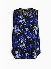 Black Floral Lace Georgette Tank, FLORAL - BLACK, hi-res