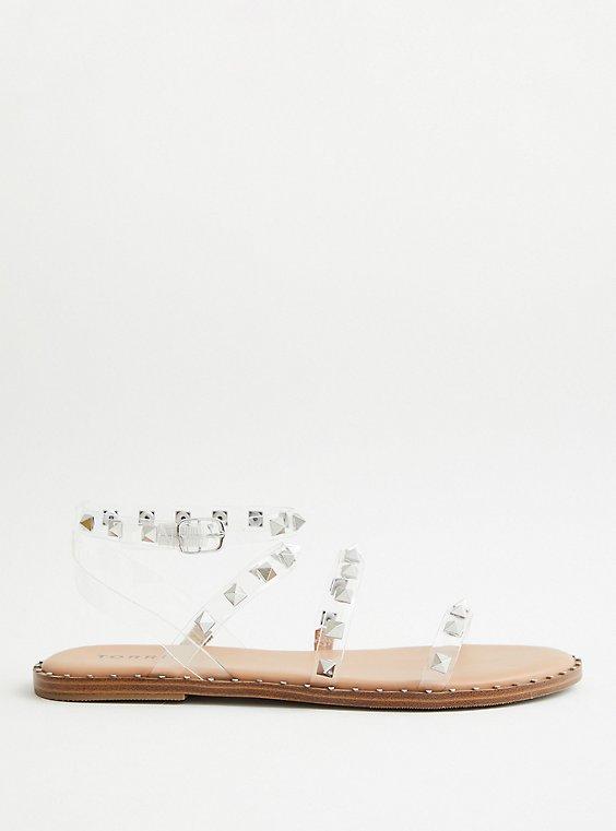Clear Studded Gladiator Strap Sandal (WW), , hi-res