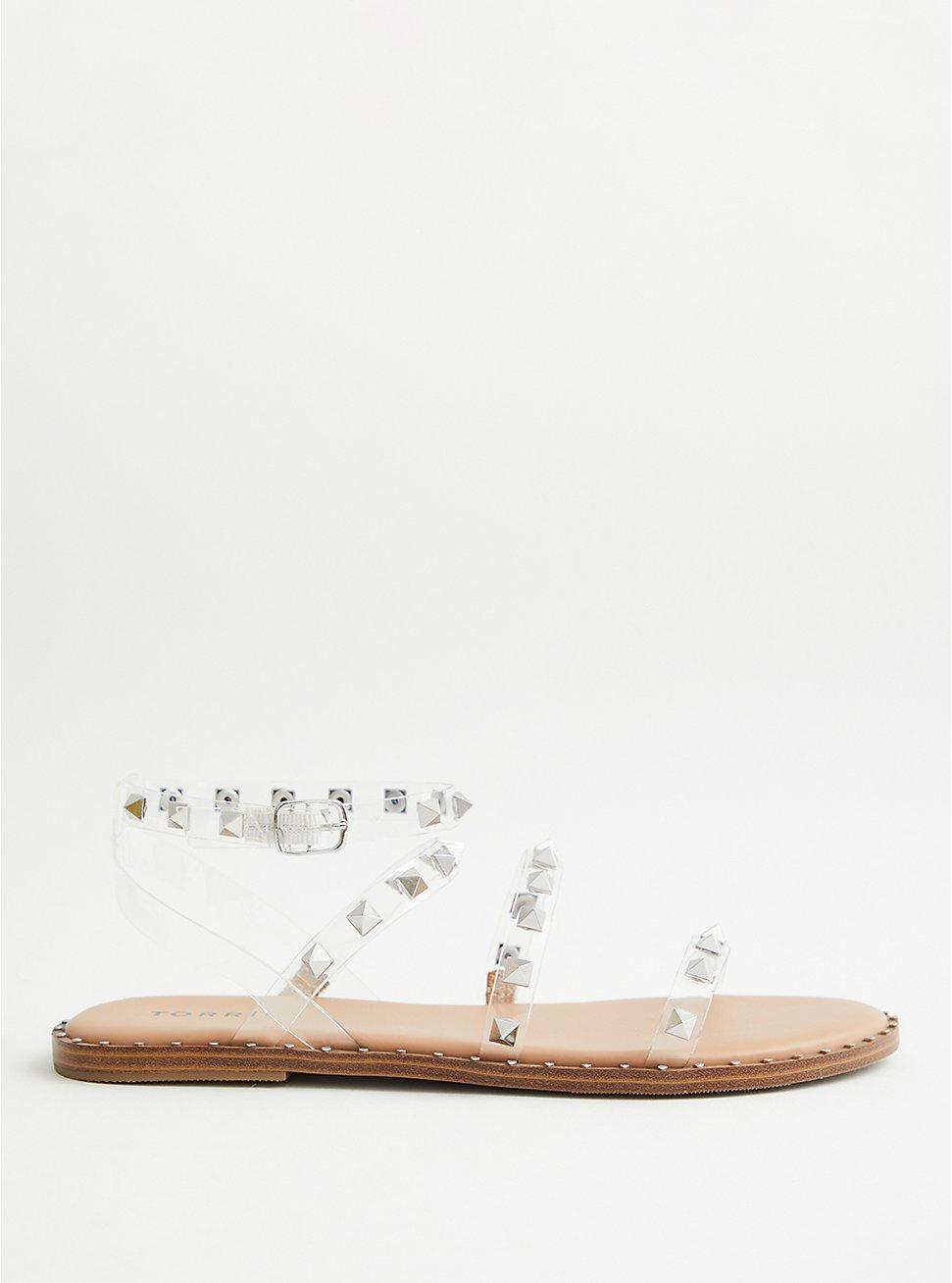 Clear Studded Gladiator Strap Sandal (WW), WHITE, hi-res