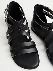 Black Faux Leather Strappy Gladiator Sandal, BLACK, alternate